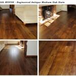 Engineered antique wooden floor with medium oak stain