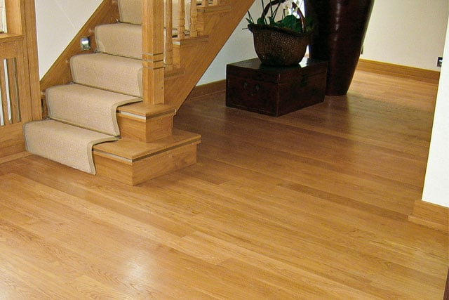 Solid oak wood flooring uk wood floors bespoke joinery for Real oak hardwood flooring