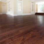 Engineered dark wooden floor large room