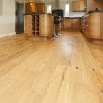 Light wooden floor in a kitchen