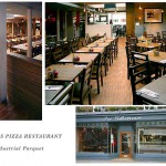 Jo Shmo's Pizza Restaurant with Walnut Industrial Parquet Flooring