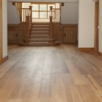 Solid wood floor, light wax.